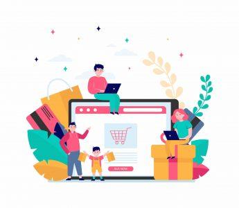 Happy people shopping online. Basket, tablet, customer flat vector illustration. E-commerce and digital technology concept for banner, website design or landing web page