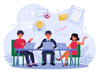 Business team brainstorming and discussing startup project isolated flat vector illustration. Cartoon businesspeople sitting at table and working with laptops. Company workflow and teamwork concept